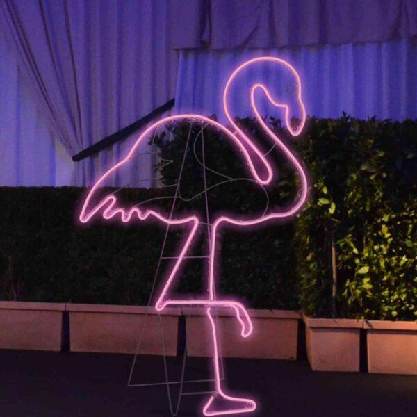 Fenicottero rosa neon bifacciale
